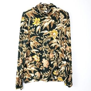 H&M Floral Turtle Neck Blouse Long Sleeve XL